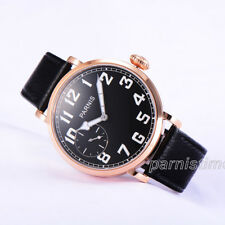 46mm Parnis Hand Winding Men's Casual Watch Rose Gold Case Black Leather Strap