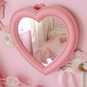 Love Heart Shaped Cosmetic Mirror Pink Makeup Wall Hanging Girls Room Decoration