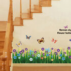 Flower Grass Butterfly Wall Border Decal Removable Windows Stickers Kids Decor