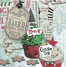 Lot de 2 Serviettes en papier Cupcake de Noël Decoupage Collage Decopatch