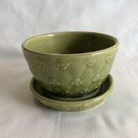 Vintage Shawnee Green Embossed Quilted Planter Flower Pot with Saucer #452
