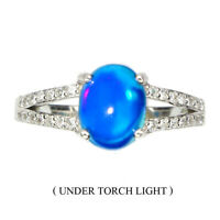 Oval Cab 9x7mm Blue Fire Opal Cz 14k White Gold Plate 925 Sterling Silver Ring