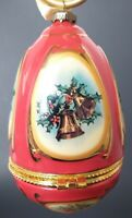 "Mr. Christmas Musical Egg Ornament  ""Joy to the World"" Valerie Parr Hill- RED"