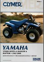 1985-2008 CLYMER YAMAHA ATV YFM80 MOTO-4, BADGER & RAPTOR SERVICE MANUAL M499-2