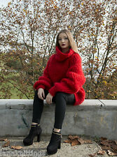 Exclusive Red  Chunky Longhair mohair sweater L XL XXL by LanaKnittings