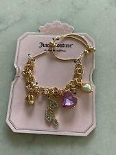 Juicy Couture Gold Tone Logo Charm Bracelet