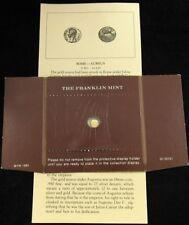 Franklin Mint Mini 14kt Gold Coin - Design of Ancient Rome Aureus 27 BC - 14 AD