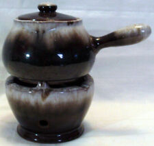 Vintage Brown Drip Lidded Pot With Spout & Handle Over Warmer Base From Japan