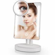LED Lighted Vanity Makeup Mirror 15X Magnification Touch Screen Cosmetic Mirror