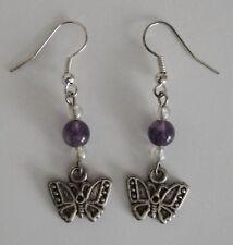 Earrings #K25 Butterflies & Beads antiqued silver color Pewter butterfly