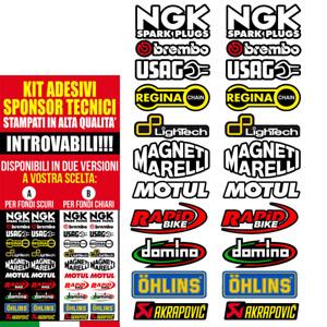 Adesivi Stickers KIT 22 pz SPONSOR MOTO TECNICI MOTO GP SBK OHLINS ALTA QUALITA'