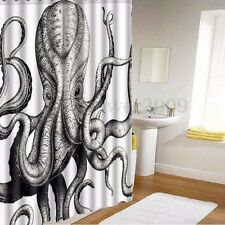 60x72 Inch Custom Waterproof Fabric Octopus Bathroom Shower Curtain w/ 12 Hooks