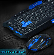 UK Stock Wireless Multimedia Usb Gaming Keyboard + 2.4GHz 6 Buttons Mouse Set