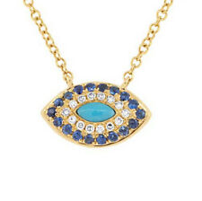 14K Yellow Gold Turquoise Blue Sapphire Diamond Marquise Eye Pendant Necklace