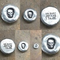 "1 Ozt MK BARZ  ""Skull Rounds"" .999 Fine Silver"