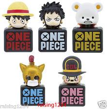 BANDAI One Piece Anime Double Earphone Jack 2 Figure (Set 5 pcs) Luffy Law Bepo