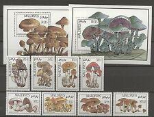 Pilze, Mushrooms - Malediven - 1234-1241, Bl.130-131 ** MNH 1986 !