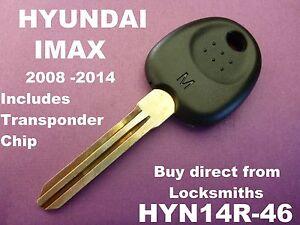 HYUNDAI IMAX transponder car key blank 2008 - 2014 can cut n program HYN14R-46
