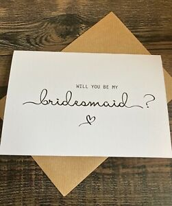Will you be my bridesmaid Card & Envelope  ( Simply Elegant Style)