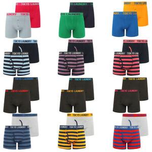 Men's Tokyo Laundry 2 Pack Boxer Shorts Set Stripe Plain Trunks Cotton Underwear