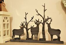 Metal Stag and Tree Antler Christmas Decor 4 Tealight Holder 35 x 25cm