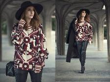 ZARA Burgundy White Fringed Slouchy Boho Sweater Jumper L BNWT BLOGGERS !!!!!