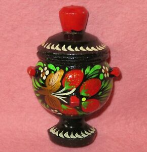 Fridge Magnet Samovar not doll small HAND PAINTED Black Red Khokhloma ART design