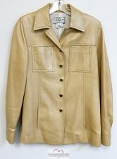 St John Sport Italy Beige Leather Jacket sz P