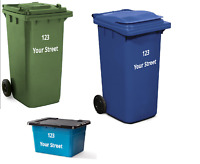 Lot de 3 pcs Wheelie Bin Maison Nombre Autocollants Imperméable Grand Blanc Couleurs