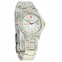 WENGER $275 MEN'S SWISS MILITARY AVALANCHE II SILVER WHITE DIAL DATE WATCH 70186