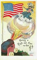 Fourth of July 4th-Lady Gets Shot Out of Cannon~Flag~Patriotic~A/s~Postcard-a-45
