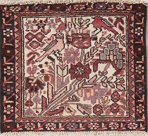 Vintage Tribal Bakhtiari Area Rug Wool Hand-Knotted Oriental Floral Carpet 2x2