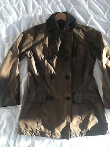 Barbour Double-Breasted Ladies Womens Wax Pea Coat Jacket UK 10 Country Equine