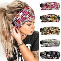 New Women Yoga Sports Elastic Headband Head Scarf Butterfly Printed Hair Band