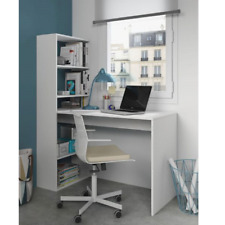Faro White Computer Desk Workstation with Bookcase Home Office Furniture Table