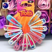 12 New Girl Kid Children Shopkins OR Trolls OR Frozen Head Hair Clip Snap Pin