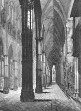 LONDON. Westminster Abbey North Aisle, looking west 1845 old antique print