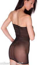 Mini Dress Sexy BLACK NET See through MESH Sheer Strapless Boobtube LINGERIE D20