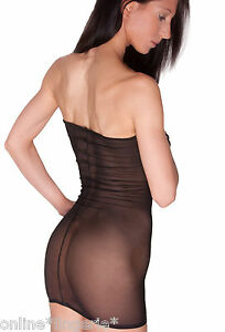 Black Net Mini Dress Sexy See Through MESH Sheer Fishnet Boob Tube Lingerie D20
