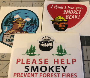 Smokey Bear Decals OLD SCHOOL 1956, 60's I Love Prevent Forest Fires Set 3