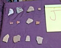 LOT OF 12 NATIVE AMERICAN INDIAN POTTERY PIECES (J) Some PAINTED - FREE SHIPPING