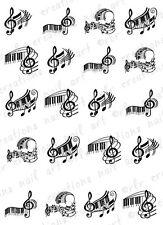 20 PIANO KEYS and MUSIC NOTES Assortment Water Slide Nail Art Decals Music Nail