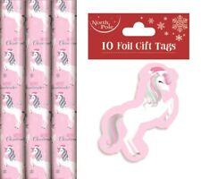 3 X 3m Rolls of Christmas Gift Wrap Wrapping Paper Childrens Metallic Unicorn