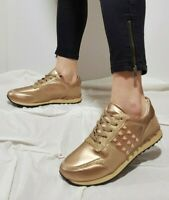 NEW WOMEN'S SHOES LACE UP LOW TOP SNEAKERS WITH STUDS CHAMPAGNE GOLD DJH-35