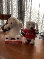 2 Vintage Coca Cola Plush Bears -Sports  + Bear with Coke Bottle - New With Tags