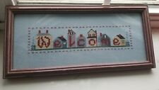 Framed Completed Cross Stitch Welcome Sign