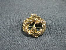 filled pocket watch pin clip fob Antique Victorian engraved flowers scrolls gold