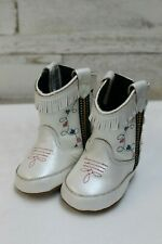 Old West Infant Poppets Cowboy Boots-White w/Blue & Pink Hearts, Style 10044
