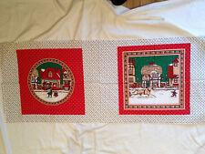 Christmas Town Scene Fabric Panel Pillow Blocks Cheater Quilt Manes
