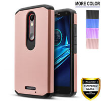 For Motorola Droid Turbo 2 Phone Case, Cover+Tempered Glass Screen Protector+Pen